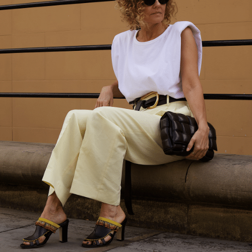 mia mule shoes with white pants